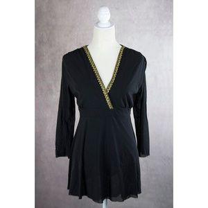 Sweet Pea Black Blouse w/Embellished Neckline L